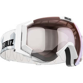 Bliz Carver Lunettes de protection, white-black/orange-silver mirror
